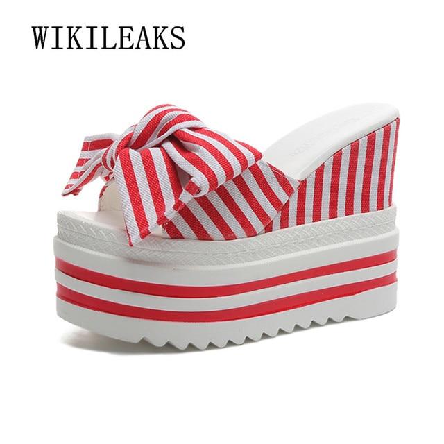 $ US $7.09 2020 Summer Woman Shoes Wedge Platform Slippers Beach Flip Flops Super High Heel Slippers For Women Brand Striped Ladies Shoes