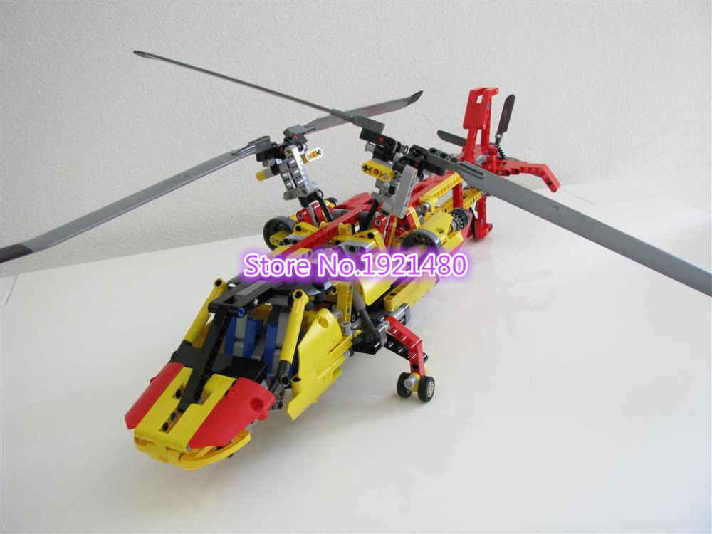 1056pcs AIBOULLY 3357 Technic Helicopter building blocks Toys for children Game Car Formula 1 Compatible with 9396