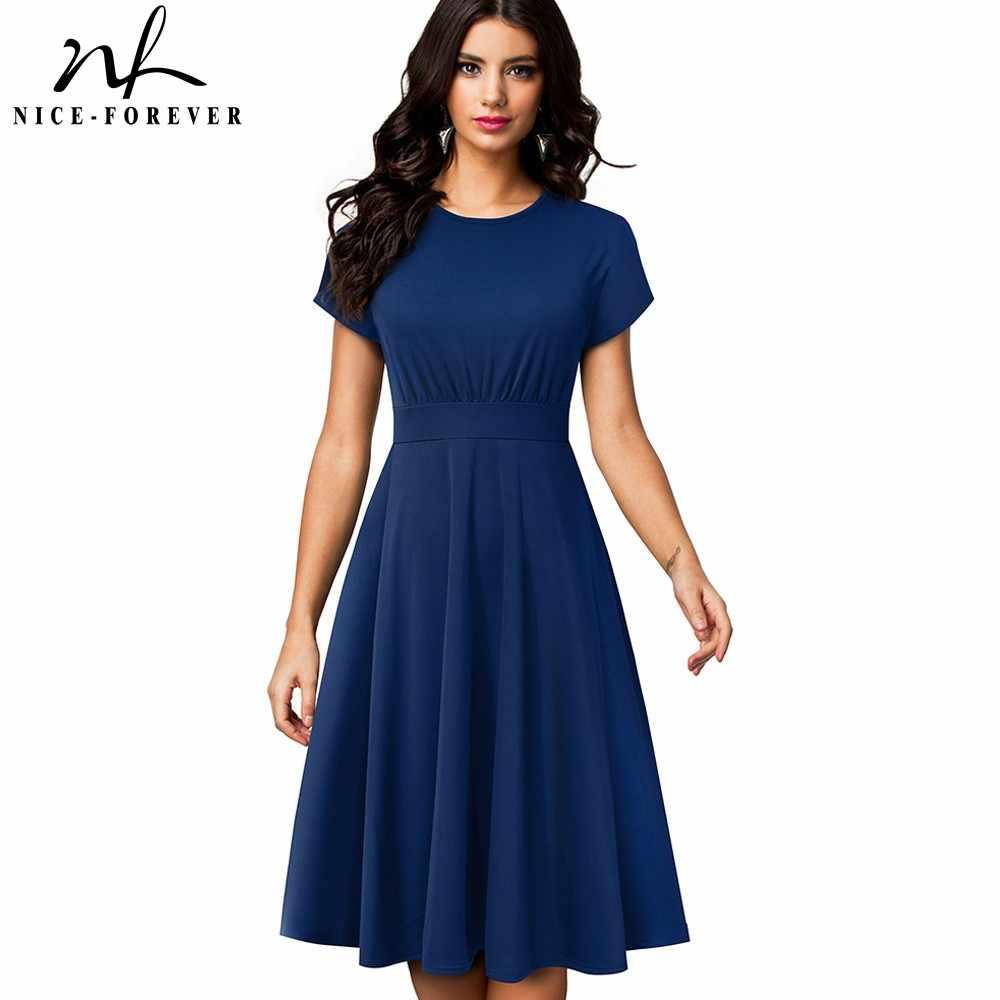 Хорошее-Forever элегантное винтажное однотонное платье трапециевидной формы с круглым вырезом, vestidos Pinup, деловые вечерние платья для женщин, расклешенное платье, A157