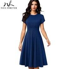 Güzel Sonsuza Kadar Zarif Vintage Düz Renk Yuvarlak boyun A Line vestidos Pinup Iş Parti Kadın Parlama askı elbise A157