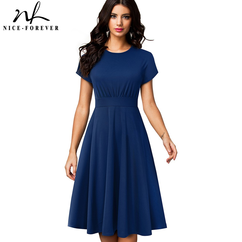 Nice-Forever Elegant Vintage Solid Color Round Neck A-Line Vestidos Pinup Business Party Women Flare Swing Dress A157