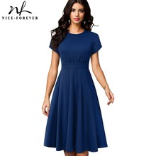 Nice Forever Elegant Vintage Solid Color Round neck A Line vestidos Pinup Business Party Women Flare Swing Dress A157