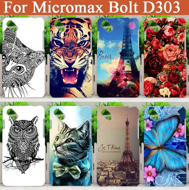 Zaštitna maska za Micromax vijak D303 Fashion DIY šareno cvijeće životinja i Eiffelov toranj SOFT TPU futrola za telefon za Micromax vijak D303