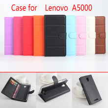 For Lenovo A5000 Phone Case Folio Flip Pure Color Lichee Pattern PU Leather Wallet Case Cover Cash/Card Slots sanheng
