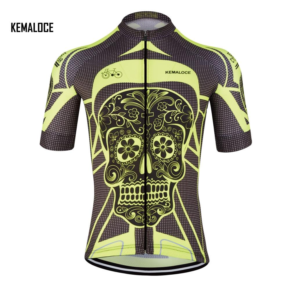 KEMALOCE crane yellow bright skeleton cycling jersey wear china cheap short sleeve men cycling clothing t shirts