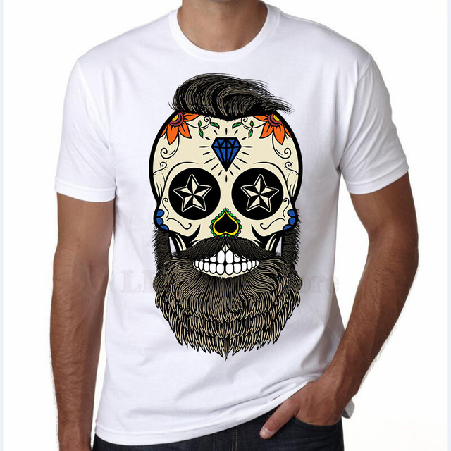 92557a2ee LEOMAN 2017 Funny Creative Skull Design T-Shirt Fashion Bearded Skull  Printed T Shirt Men's Novelty Hipster Tee