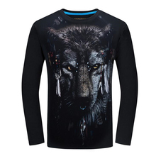 Fashion MenT-shirt 3D animal wolf print Designed Stylish Long sleeves autumn winter T shirts personality Tops Tees Plus Size 6XL