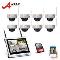 ANRAN 8CH 12 LCD NVR Wireless Surveillance System 2TB HDD 720P IP Camera WIFI IR Outdoor