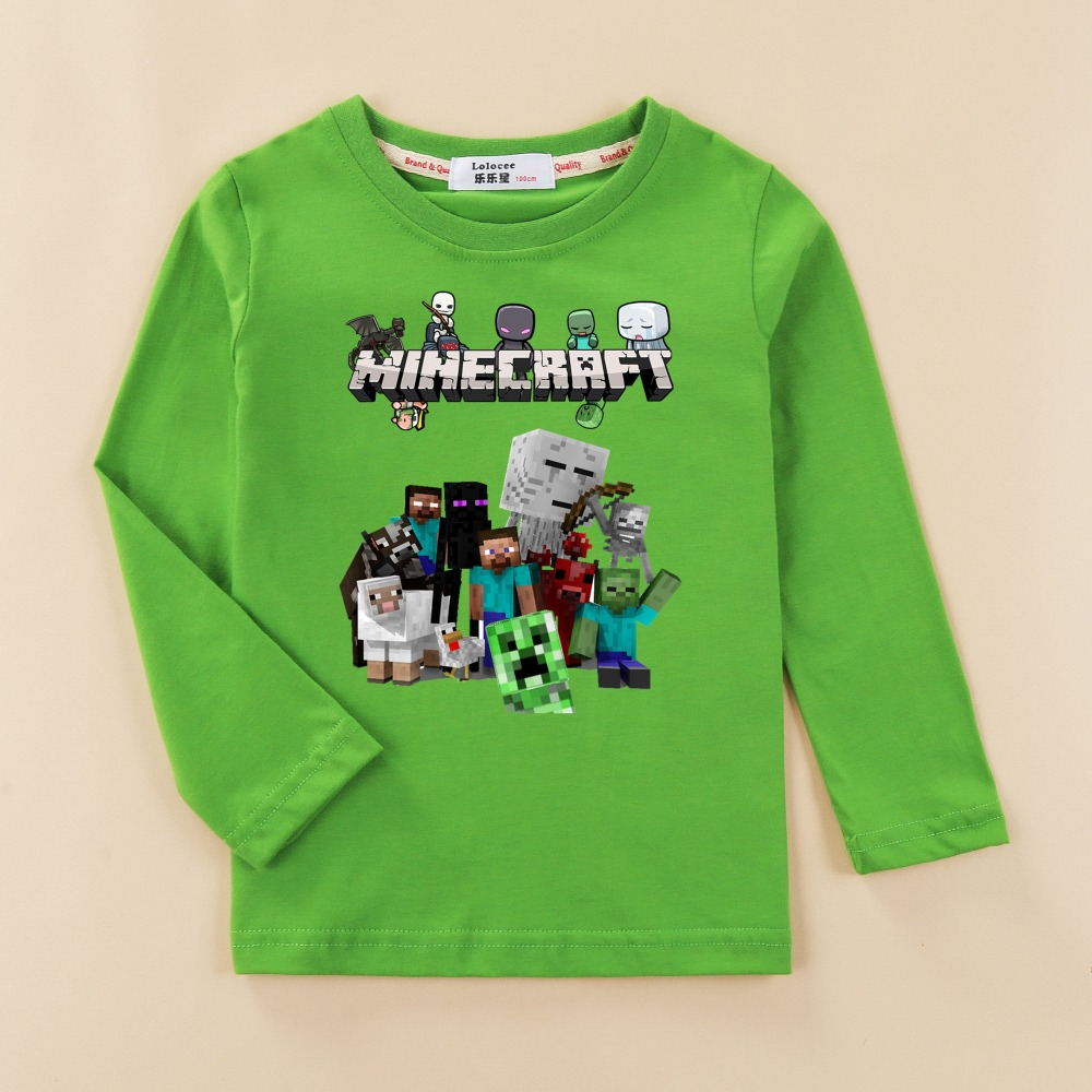 New Kids Steve 3D Minecraft T shirt baby boys tees shirt children 3-14 age clothes Autumn winter long sleeve 100% cotton tops mens casual 3d personality skull printing short sleeve t shirt cotton sport black tees