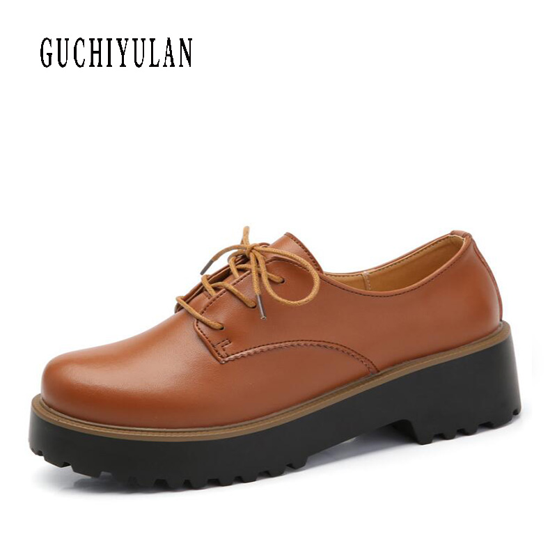 Fashion Women Shoes Genuine Leather Casual Shoes Woman round toe Flats Ladies Thick bottom Sport Sneakers Platform Student Shoes qmn women snake effect leather brogue shoes women round toe platform oxfords shoes woman genuine leather casual platform flats