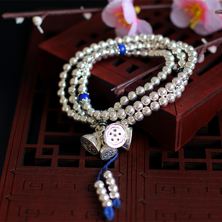 Limited Edition Pure Silver Buddhist Lotus Seed Bracelet Band Fine Jewelry S925 Silver Lapis Lazuli Chian Chinses Style Bangle