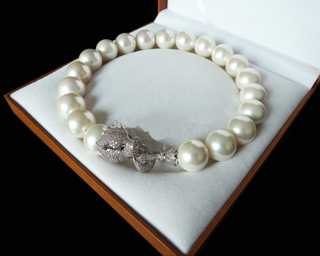 Conception spciale naturelle 18 '' 20 mm blanc shell perle inlay zircon leopard head collier de luxe