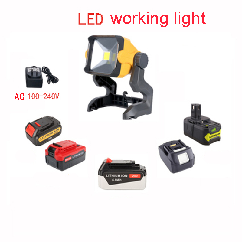 Electric Tool Part Home Decoration Construction LED Working Lamp Light For DeWalt Makita Ryobi 18V 20V Li-ion Batteries