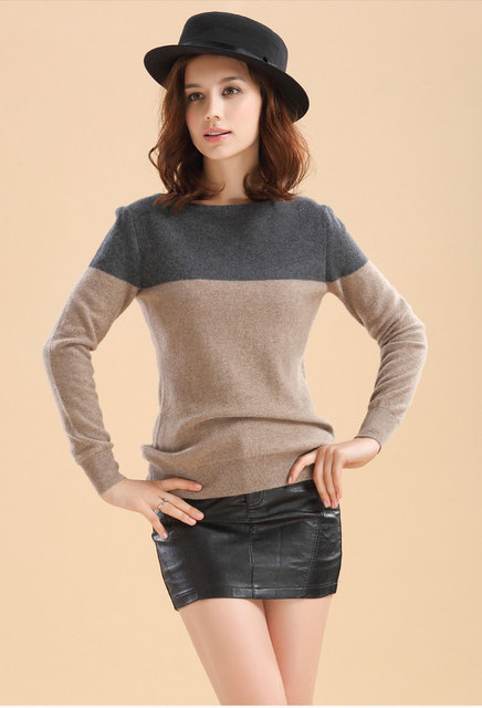 Hot sale New Arrival Women s Cashmere Wool Sweater Female Contrast Color  Basic Pullover Long Sleeve Free Shipping 40f02d6003
