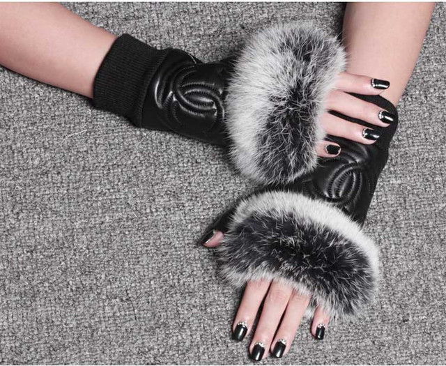 Free shipping Winter Fashion Celebrities Women Genuine Leather Gloves Real sheepskin Rabbit Fur Fingerless Gloves Baby Female