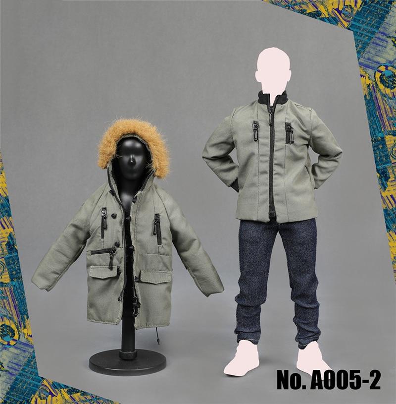 1/6 ชายปลอกคอขนยาว Coat Hoodie เสื้อและกางเกงชุดสำหรับ 12''Action ตัวเลขร่างกายอุปกรณ์เสริม A005-ใน ฟิกเกอร์แอคชันและของเล่น จาก ของเล่นและงานอดิเรก บน   2