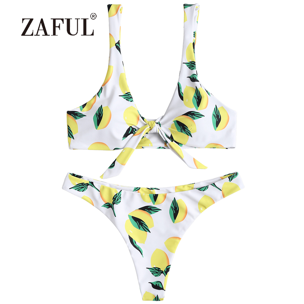 7407fb4d796a5 ZAFUL Knot Bikini Lemon Print Padded Women Swimsuit Thong Bottom Bikini Set Scoop  Neck Swimwear Fruits Pattern Brazilian Biquni-in Bikinis Set from Sports ...