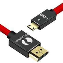 Mini HDMI vers HDMI câble 1M 2M 3M 5M 1080p 3D haute vitesse adaptateur plaqué or prise pour caméra moniteur projecteur ordinateur portable TV