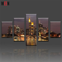 5 Pcs Wall Art Picture Home Decoration Beautiful City Building Canvas Print Wall Painting Canvas Picture
