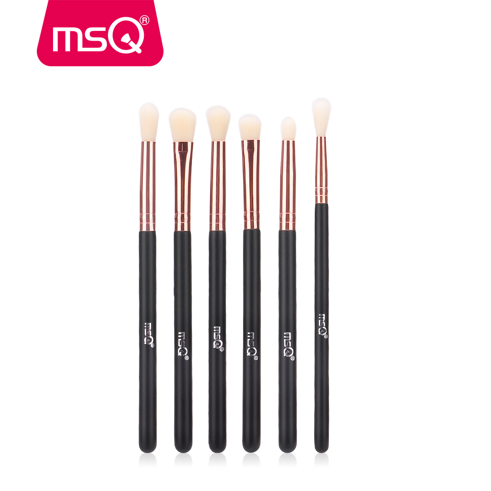 MSQ Eyeshadow Brush Set 6pcs Berus Mekap untuk Mata Eyeliner Blend Kosmetik Rambut Sintetik Soft Make Up Brush Tanpa Kulit Hurt