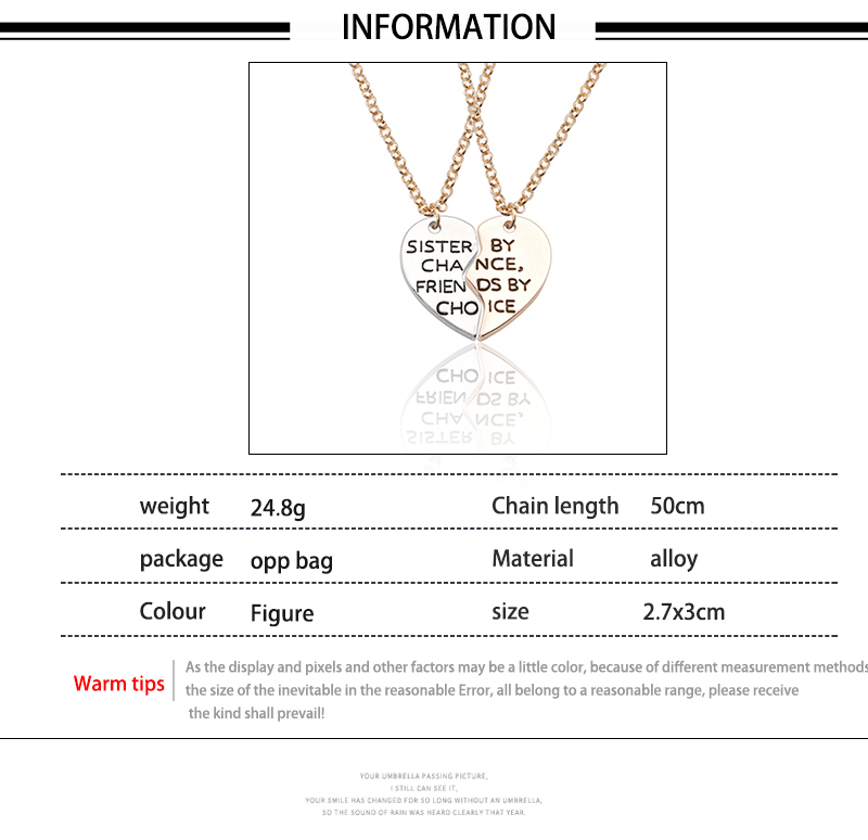 Best Friend Necklace Women Crystal Heart Tai Chi Crown Best Friends Forever Necklaces Pendants Friendship BFF Jewelry Collier 15