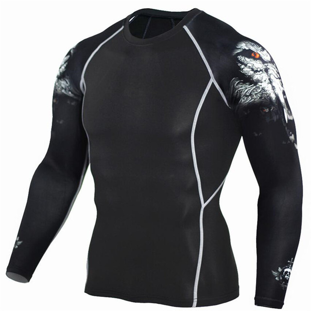 Wolf 3D Printed tshirt Compression Tights Men Fitness Running Shirt Breathable Long Sleeve Sport Rashgard Gym Cycling Clothing