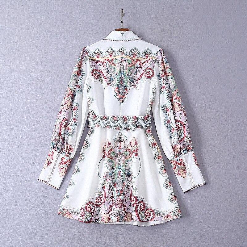 2019 봄 새로운 클래식 긴 소매 인쇄 미니 드레스 벨트 190508mld01-에서드레스부터 여성 의류 의  그룹 3