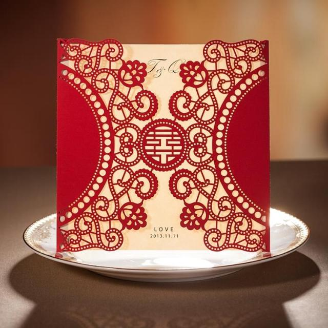 chinese new year card red laser cut free personalized customized printing wedding invitations cards 50pcs