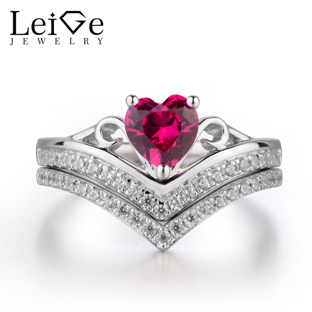 купить Leige Jewelry Engagement Ring lab Ruby Ring Real 925 Sterling Silver Romantic Gifts for Women по цене 6527.76 рублей