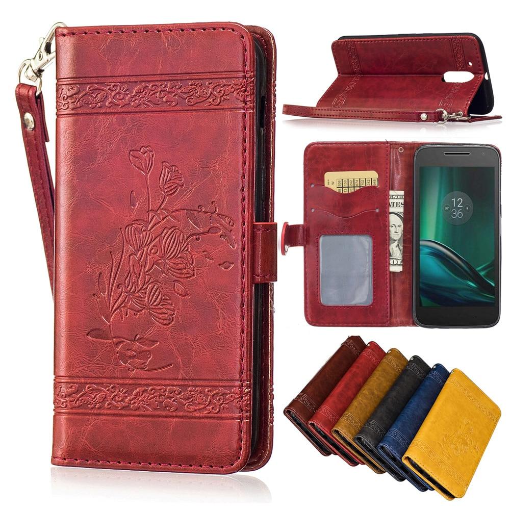 ZEALLION For Motorola Moto G4 Plus G4 Play Luxury Oil Wax Embossed PU Leather Magnetic Wallet Card Slots Flip Case Cover