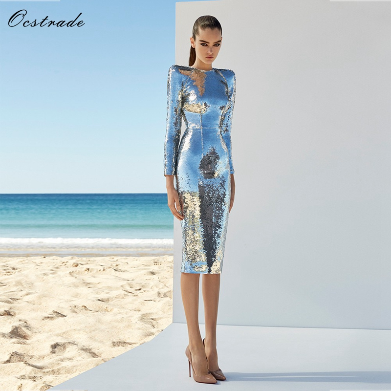 Ocstrade Sequin Party Dresses 2018 Fashion Dress for Women Clothing Silver Sexy Long Sleeve Midi Bodycon Dress ...
