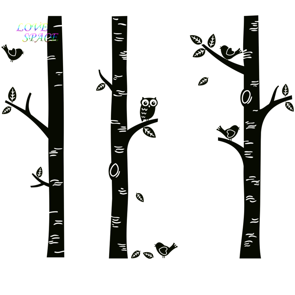 Wild birch forest with owls vinyl wall decal - Top Owl Birds Wall Sticker 3 Big Birch Tree Wall Decals Great For Nursery Baby
