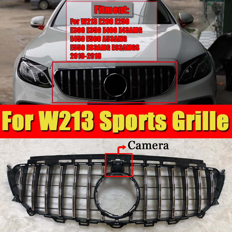 W213 E Class grill grille GTS style ABS Silver with 360 Degree camera E180 E200 E250 Front Bumper grills without sign 2016 2018 in Racing Grills from Automobiles Motorcycles