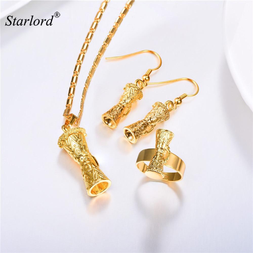 KUNDU Necklace&Dangle Earrings& Adjustable Ring Set Gold Color Australia/Indonesia/Papua New Guinea Indian Jewelry Set PER2403