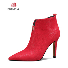 ROSSTYLE 2018 Winter Fashion Ankle Boot Quality Genuine Leather Pointed Toe Boot Sexy Pointed Toe Thin Heel Office Lady Boot B77