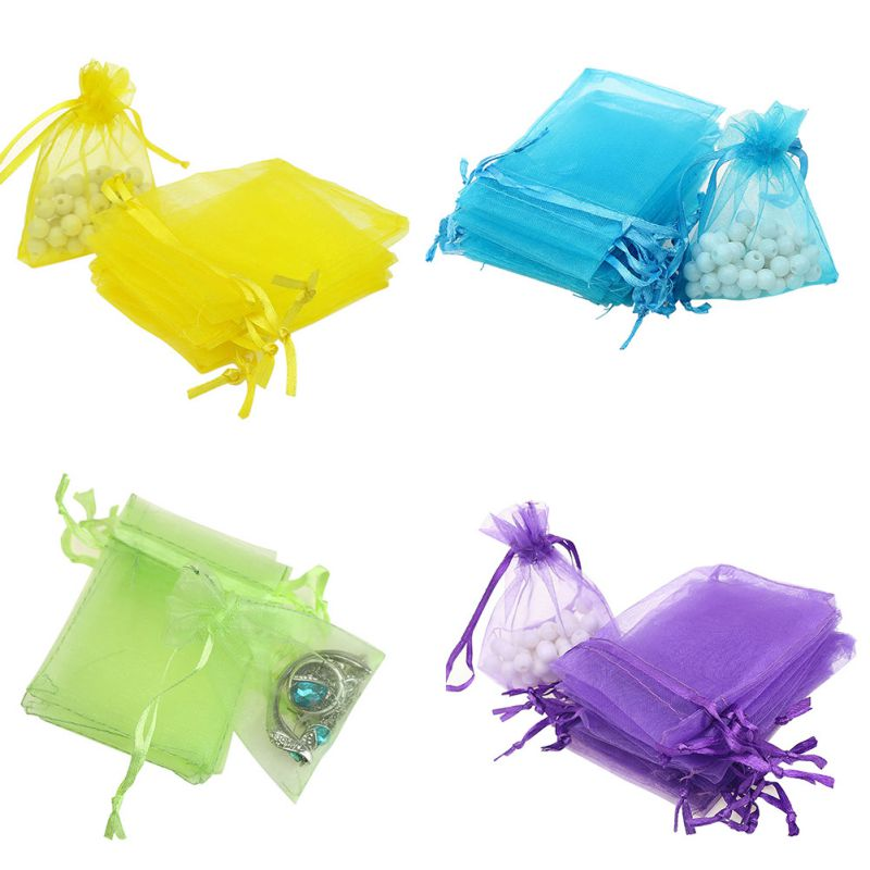 Hot selling 100pcs/lot 9x7 Cm Organza Drawstring Bag Colorful Organza Bag For Gift Packaging For Party And Wedding Gifts Bag
