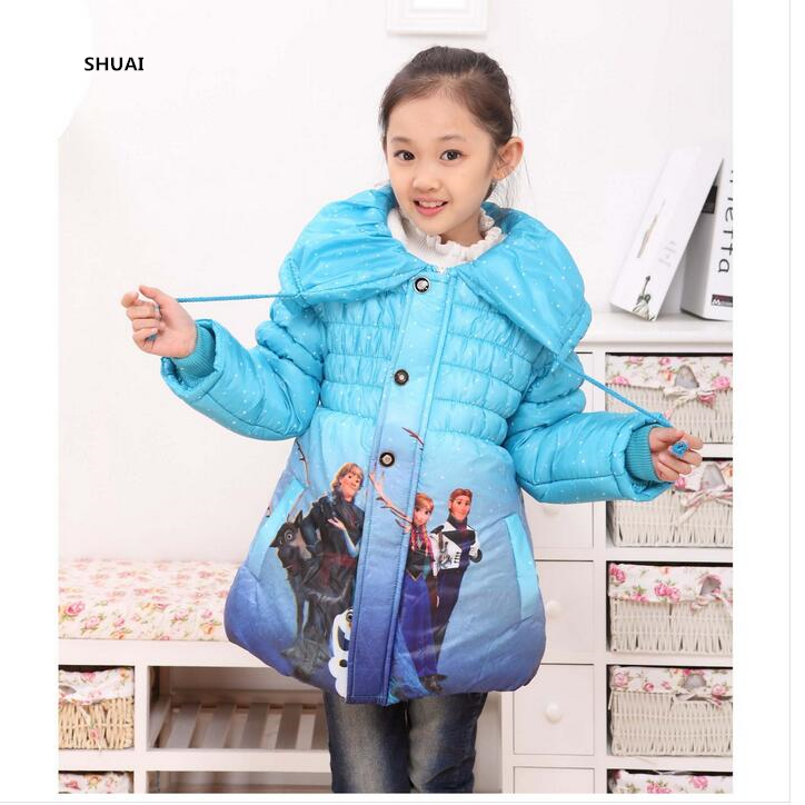 New Year Winter Girls Jacket Cinderella And Elsa Thick Warm Children Outwear Girls Coats Cotton Jackets Fashion Kids Clothing цена