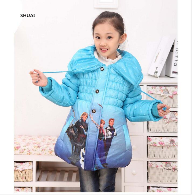 a4c757bb6 New Year Winter Girls Jacket Cinderella And Elsa Thick Warm Children ...