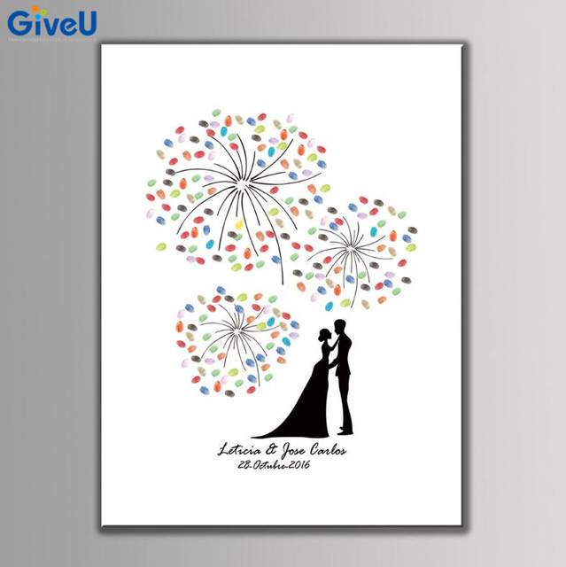 GiveU DIY Customized Wedding Fingerprint Wedding Guest Book Wedding ...