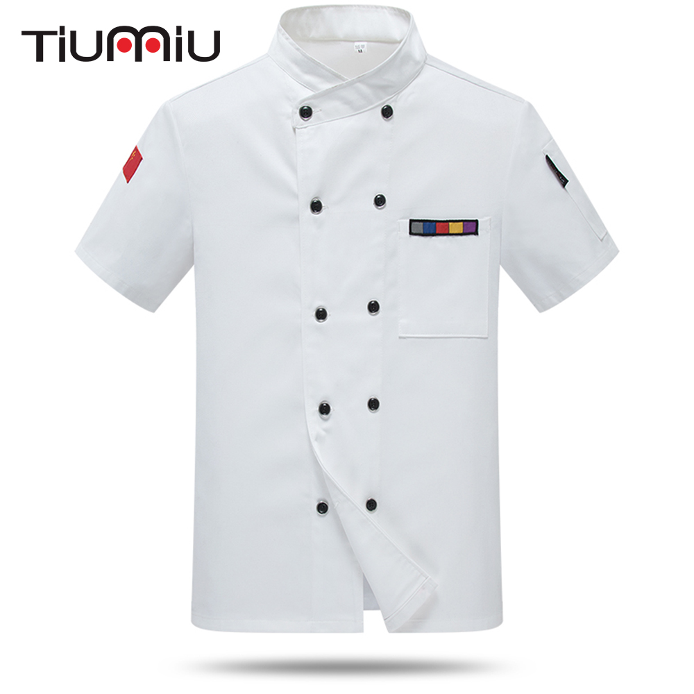 Wholesale Chef Short Sleeve Uniform Cook Summer Jacket Barbershop Custom Logo Unisex Work Clothes Waiter Waitress Hotel Overalls