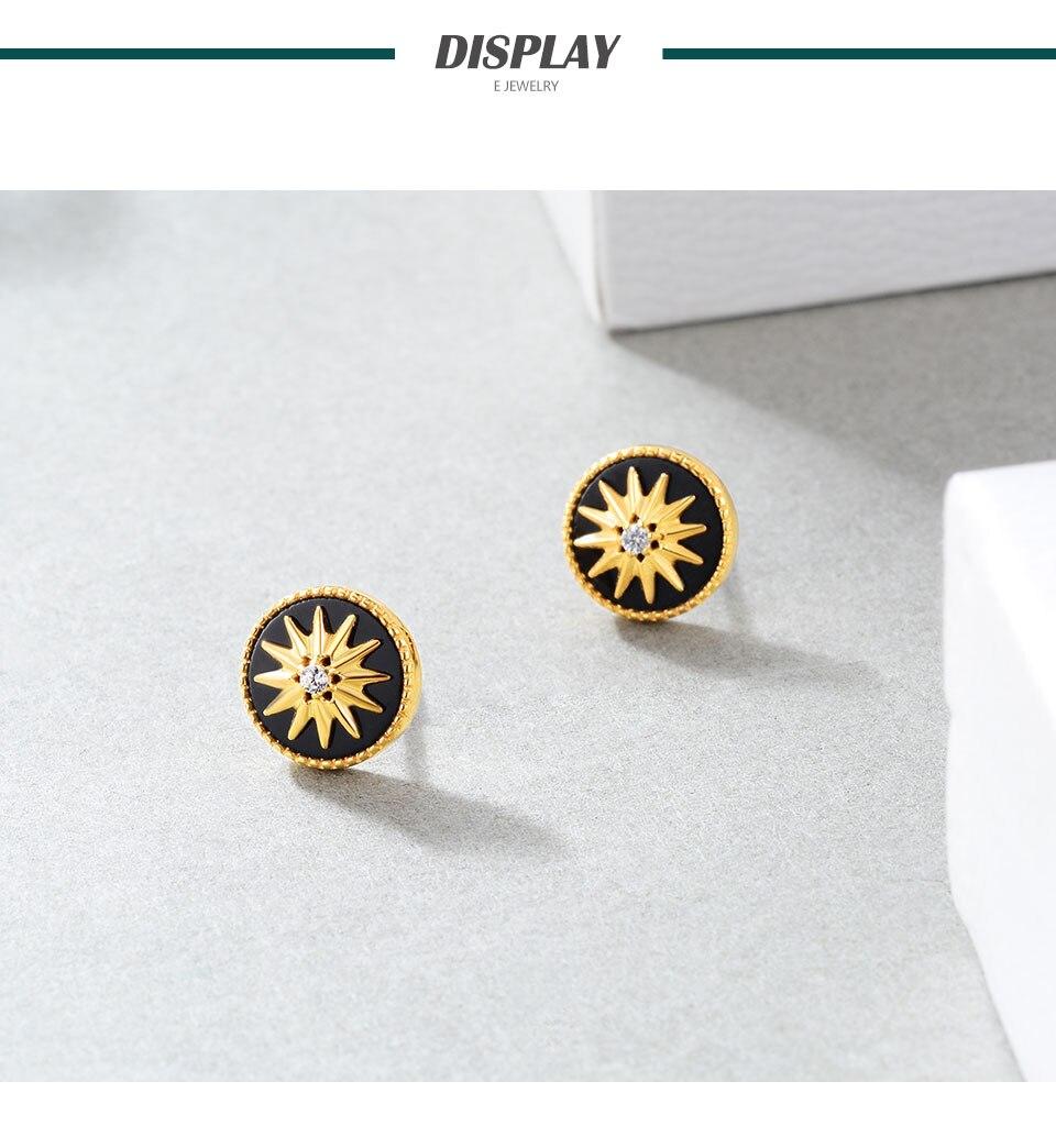 HTB1FVwTelWD3KVjSZFsq6AqkpXa1 18K Gold Plated 925 Sterling Silver Star Stud Earrings for Women Black Agate  Gemstones Silver 925 Korean Studs Earings 2019