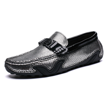 Men full-grain leather loafer Men casual shoes with fashion decoration and bright gold texture upper Good traction wet surface