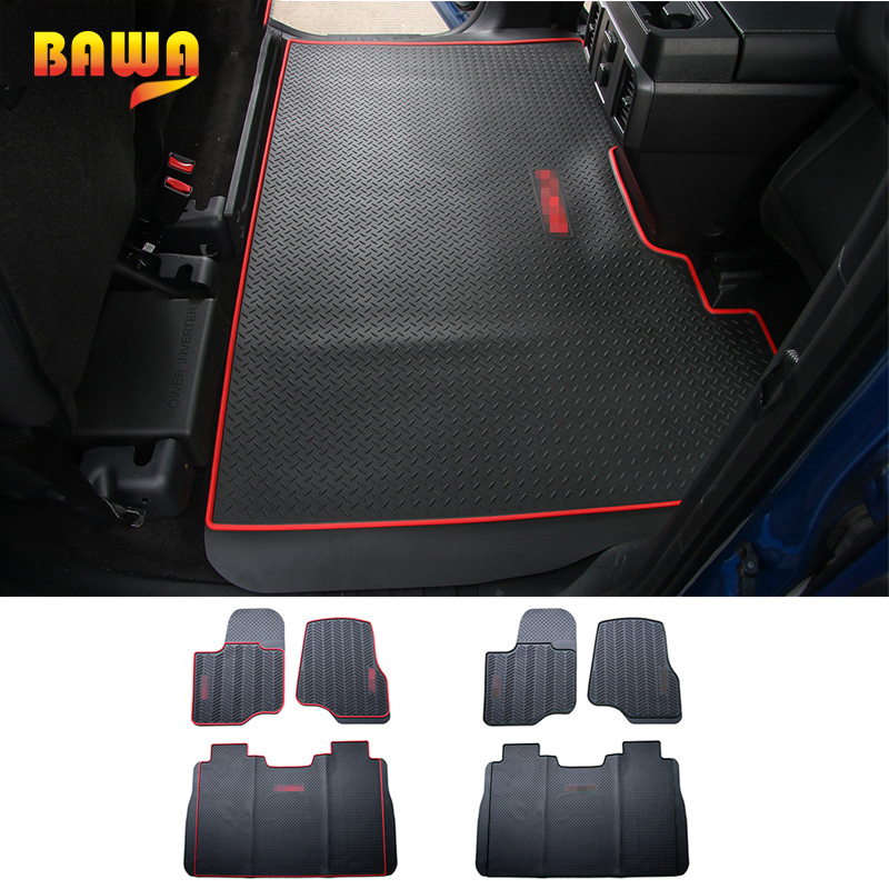 HANGUP Floor Mats Car For Ford F150 2015 Up Rubber Interior Floor Foot Mats Pads Carpet Decoration Accessories Car Floor Mats floor