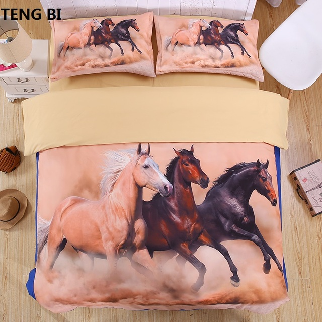 horse 3D Bedding Set Print Duvet cover sets Twin queen king Beautiful pattern Real effect lifelike bed sheet linen