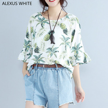 Butterfly Sleeve Blouses Women 2017 Summer Cotton Linen Blouse Female Fashion Pineapple Print Shirts Tops