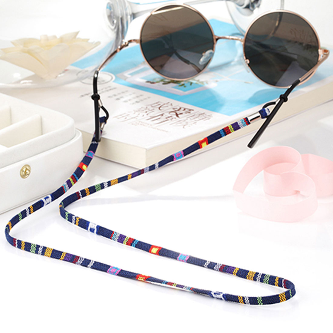 1Pc 6 Colors New Leather Eyeglass Cord Adjustable End Glasses Holder Colorful Leather Glasses Neck Strap String Rope Band
