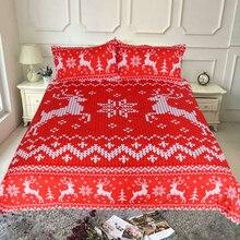 3pcs Christmas Fawn Red Bed Sets Luxury Full Size Queen King  Duvet Cover Rock Parure De Lit Bedding Set E