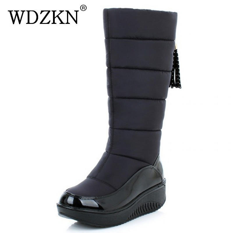 WDZKN 2018 New Arrival Wedge Platform Women Snow Boots
