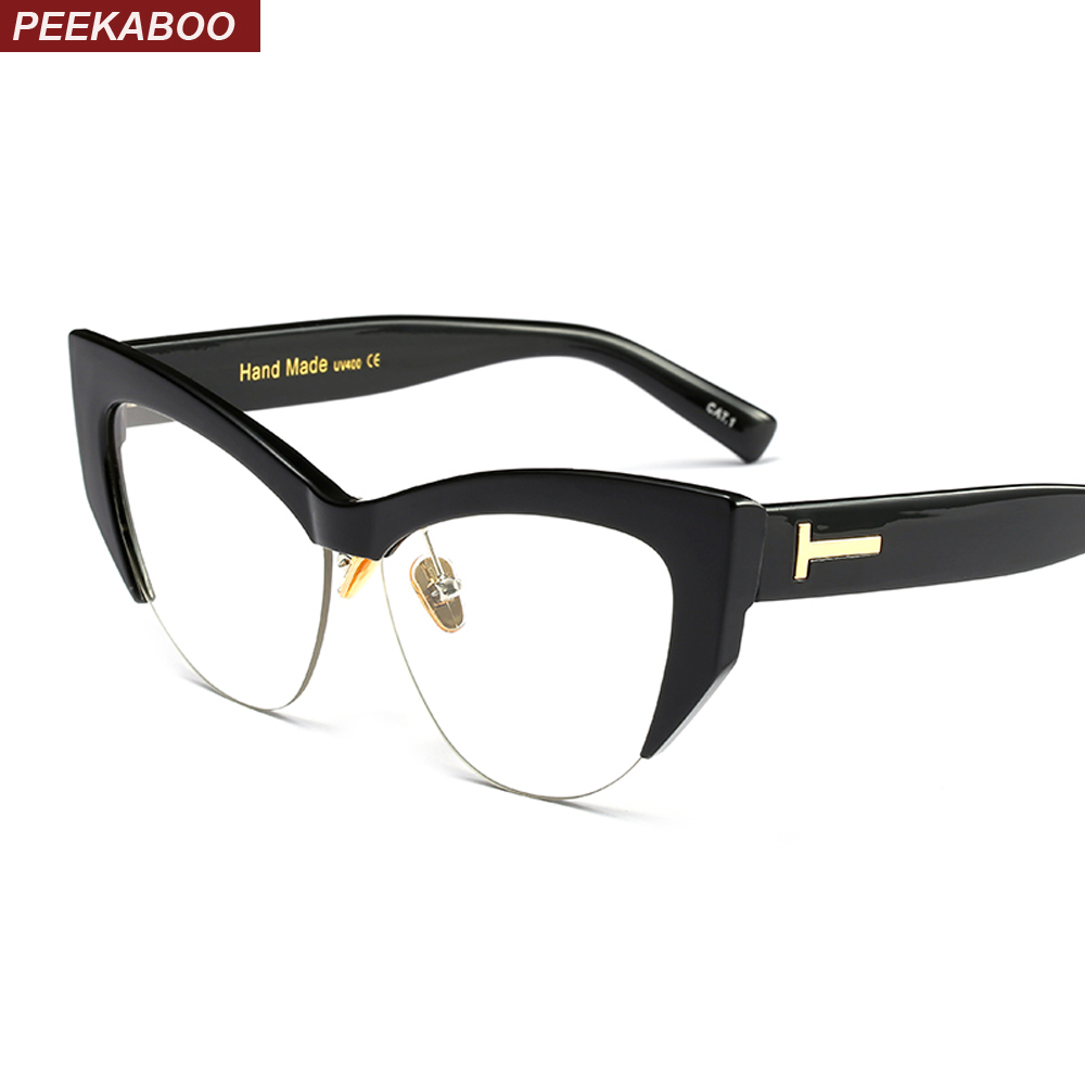 Peekaboo transparent cat eye brille rahmen für frauen 2018 schwarz ...