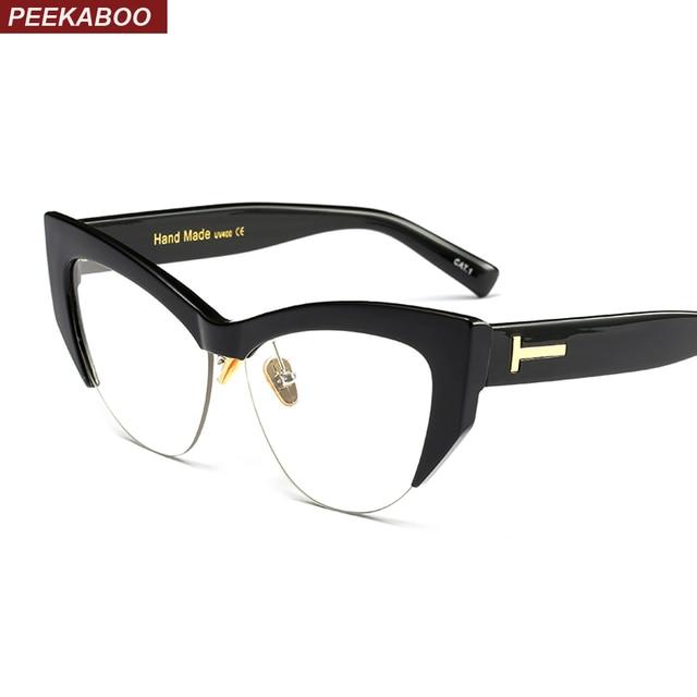 ec90314024 Peekaboo transparent cat eye glasses frames for women 2018 black leopard  beige semi rimless half rim